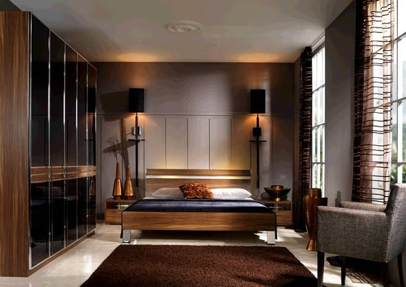 Contemporary Brown Bedroom Furniture Sets Wood Material