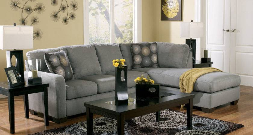 Contemporary Charcoal Sectional Modern Couch Living Room