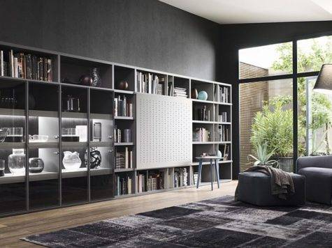 Contemporary Living Room Wall Units Libraries Ideas