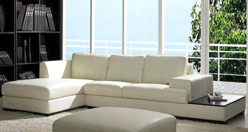 Contemporary Low Profile Leather Sectional Sofa Set Lbo