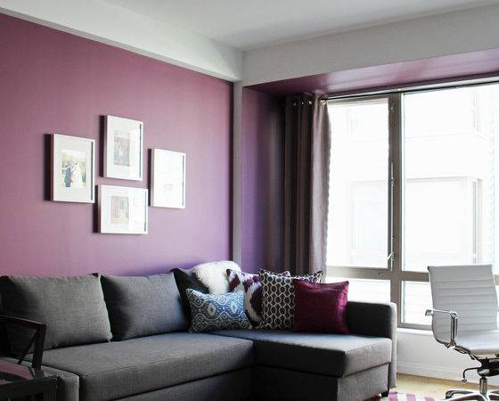 Contemporary Purple Blue Living Room