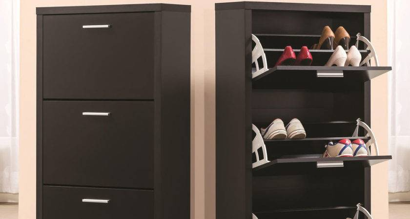 Contemporary Shoe Storage Cabinet Black Best