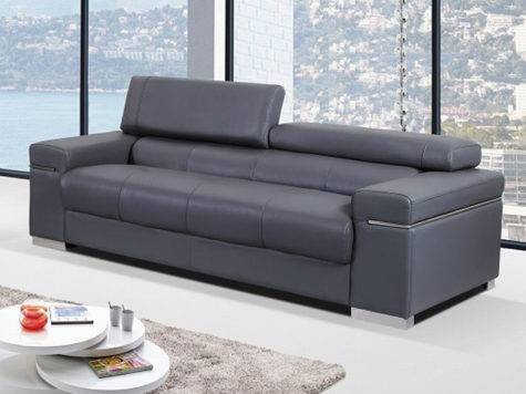 Contemporary Sofa Upholstered Grey Thick Italian