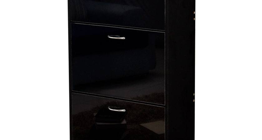 Contemporary Tier High Gloss Shoe Storage Cabinet