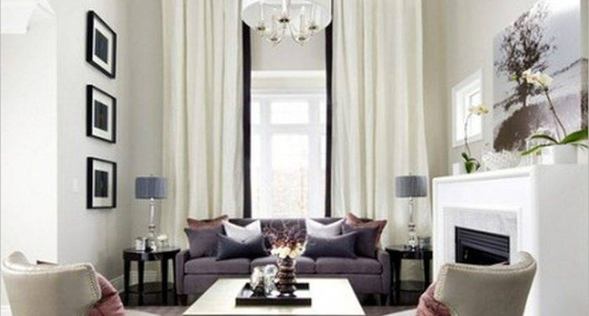 Contemporary White Living Room Curtain High Ceiling