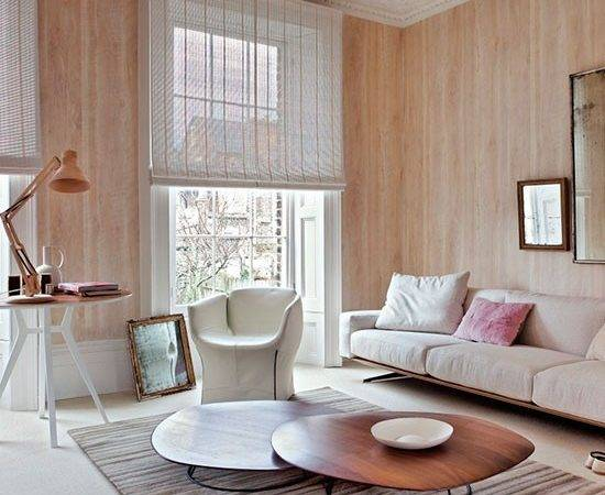 Contemporary Wood Effect Living Room Neutral