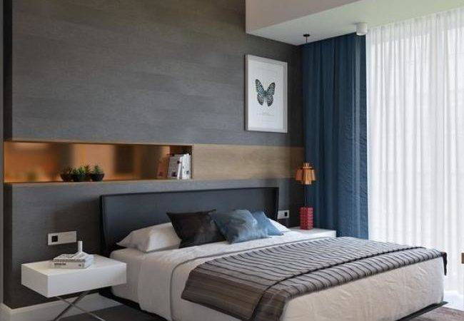 Cool Masculine Bedroom Mens White Blue Gray Colors