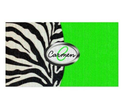 Cool Neon Green Zebra Print Monogram Double Sided