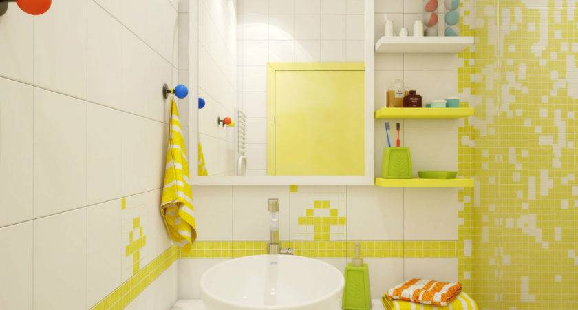 Cool White Yellow Bathroom Decor Applied Small
