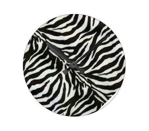 Cool Zebra Print Clock Zazzle