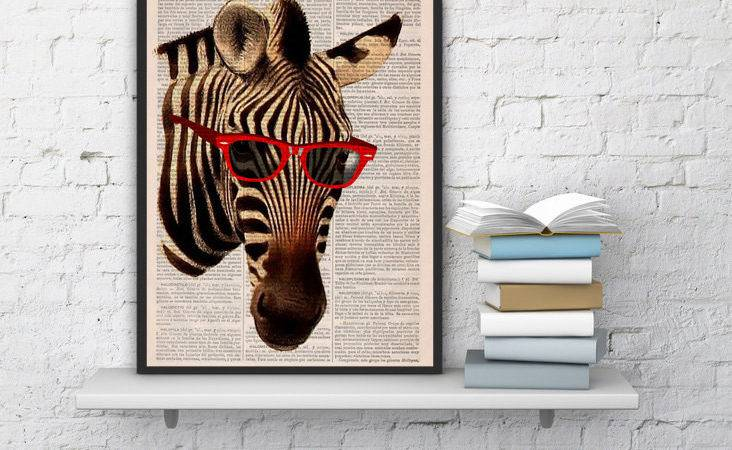 Cool Zebra Sunglasses Vintage Book Print Printed