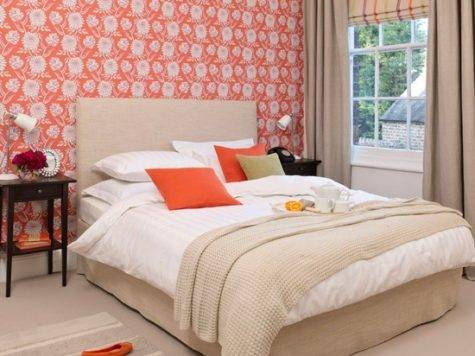 Coral Floral Bedroom Modern Decorating Ideas