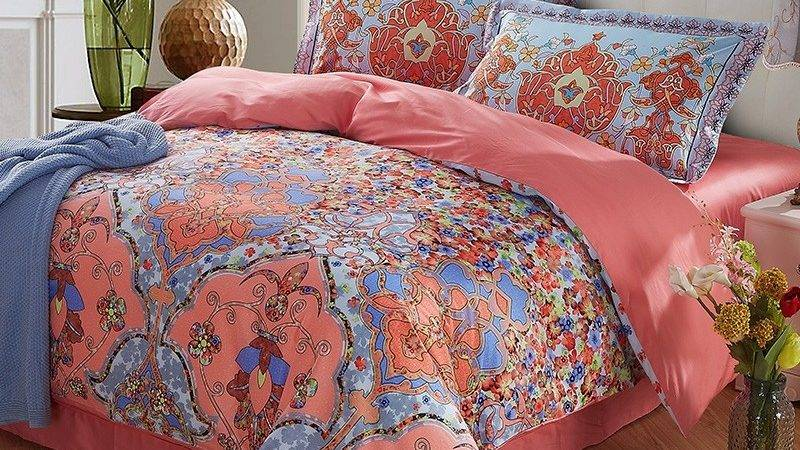 Coral Light Blue Folklore Flower Print Exotic Persian