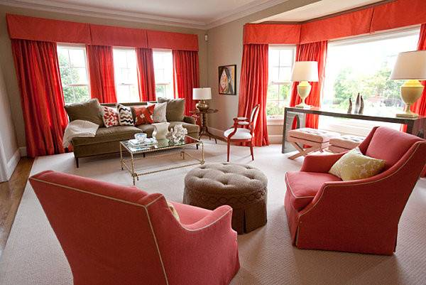 Coral Red Tan Living Room Decoist