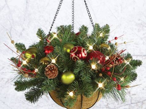 Cordless Pre Lit Christmas Hanging Basket Dia Holiday