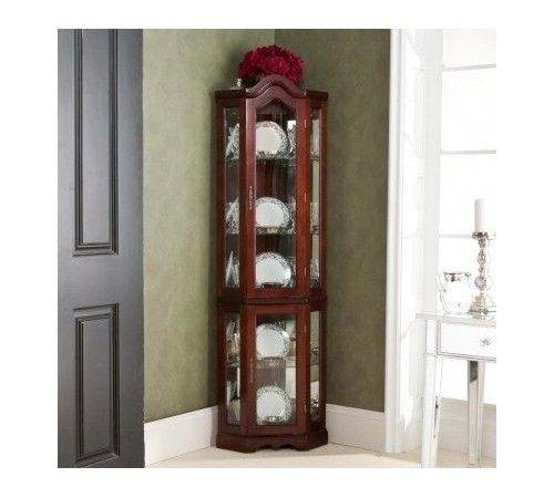 Corner Curio Cabinet Lighted China Display Case Glass