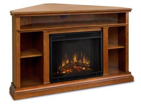 Corner Light Brown Wooden Fireplace Shelf Above Also