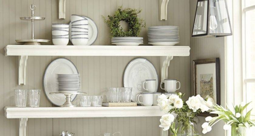 Corner White Wall Mounted Kitchen Shelves Over Shaped