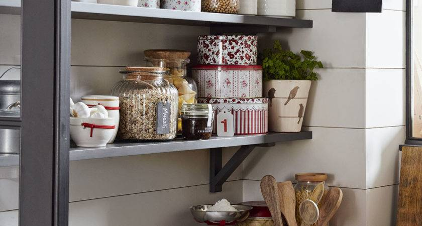 Country Kitchen Open Shelf Storage Ideal Home