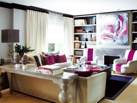 Cream Fuschia Living Room Velvet Palette