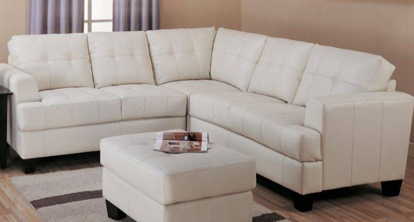 Cream Leather Sectional Sofa Modern Bonded