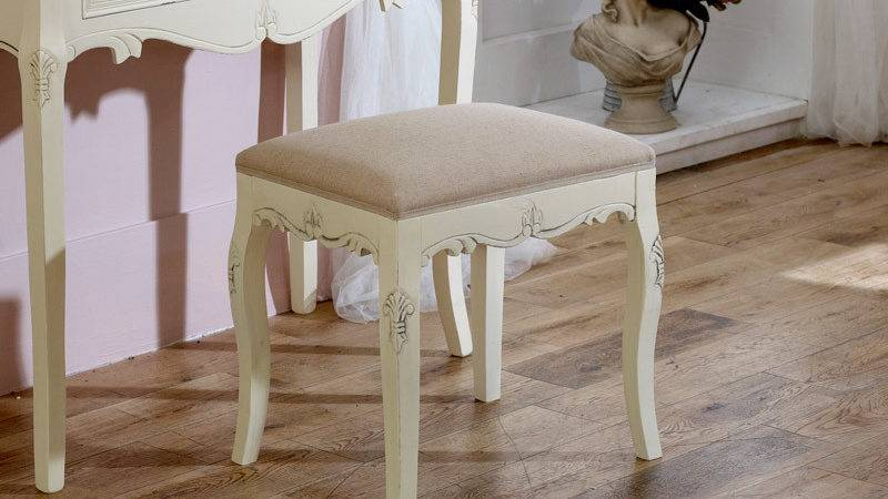 Cream Padded Dressing Table Stool Shabby French Chic