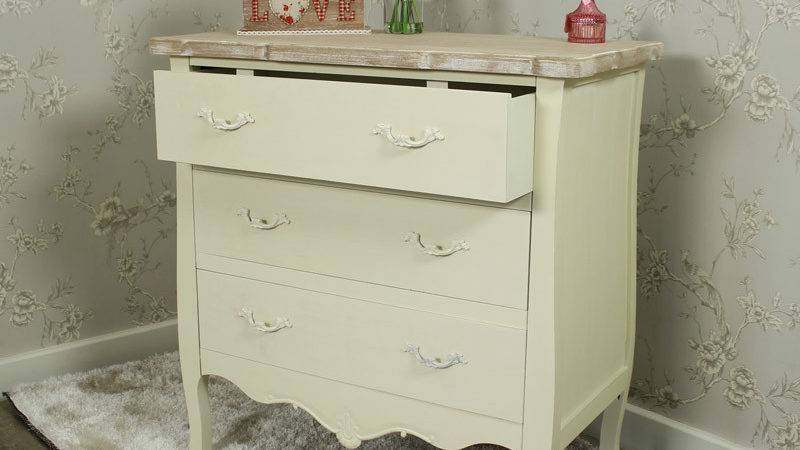 Cream Painted Drawer Chest Shabby French Chic Ornate