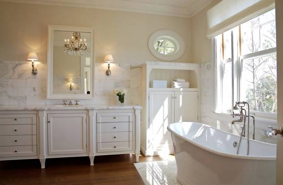 Cream Wall Paint Transitional Bathroom Farrow Ball