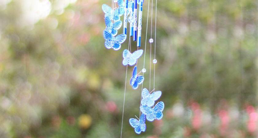 Crystal Butterfly Wind Chime Bell Ornament Yard Garden