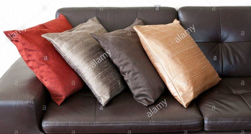 Cushions Leather Sofas Brown