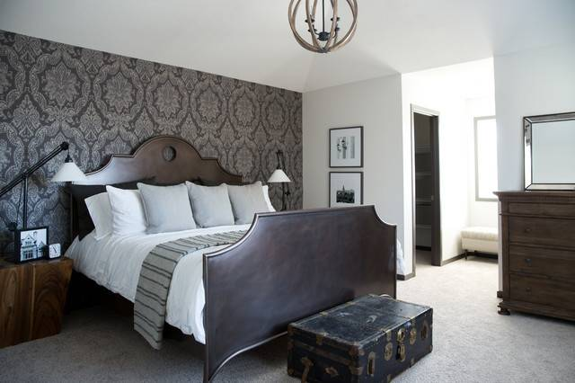 Damask Master Bedroom Feature Wall Traditional