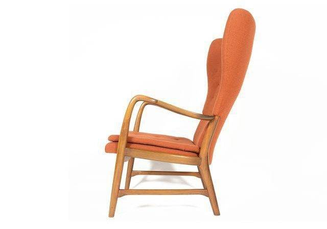 Danish Modern Terracotta Wingback Lounge Chair Chairish
