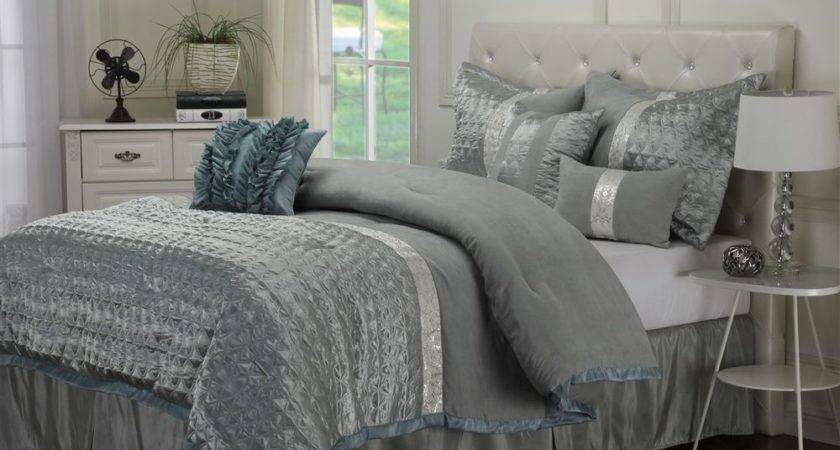 Dannica Piece Silver Teal Ruffled Comforter Bedding