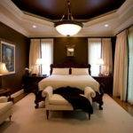 Dark Brown Bedroom White Curtain Home Interior