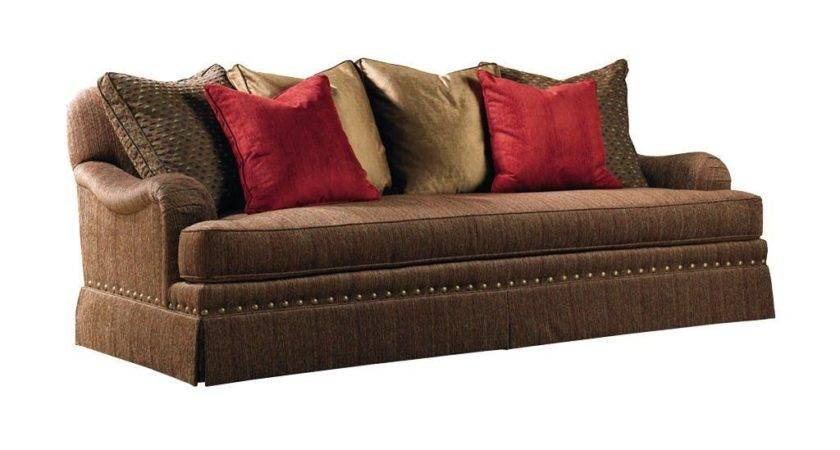 Dark Brown Leather Cushion Sofa Having Sloped Arms Design