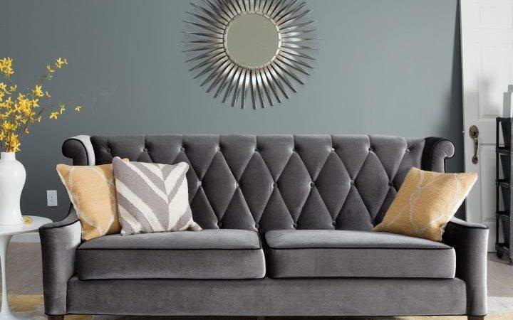 Dark Gray Couch Living Room Ideas Color Curtains