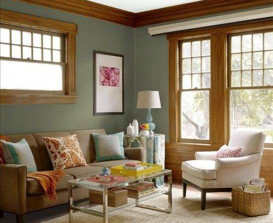 Dark Green Wall Paint Color Japanese Living Room Style