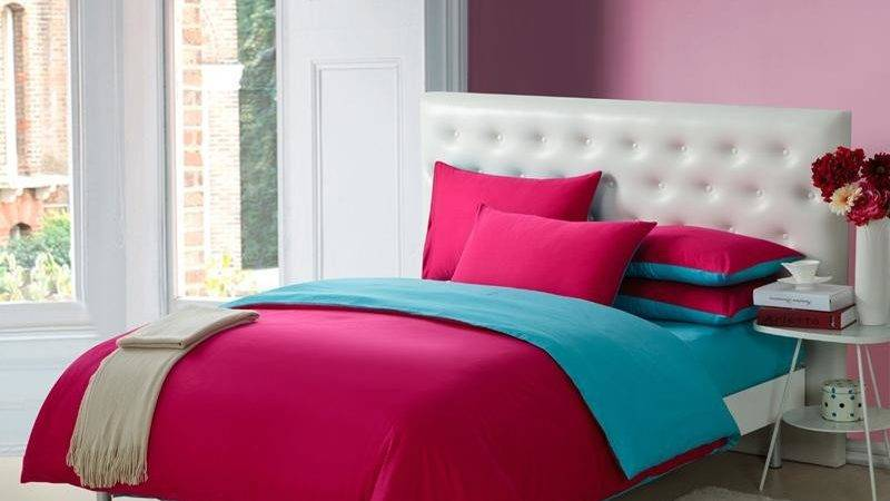 Dark Hot Pink Teal Blue Pure Color Simply Shabby Chic
