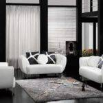 Dark Living Room Furniture Black White Leather