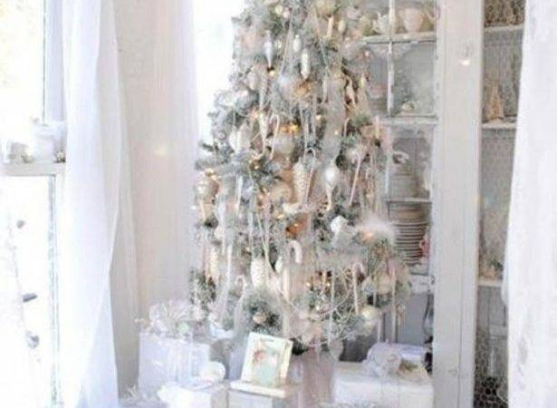Decorating Silver White Christmas Tree