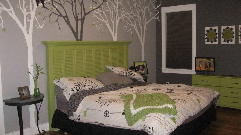 Delectable Gray Bedroom Artwork Trees Wall Paint Decor