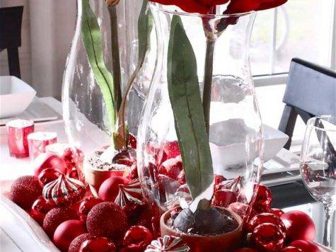 Dining Room Contemporary Christmas Table Decorations