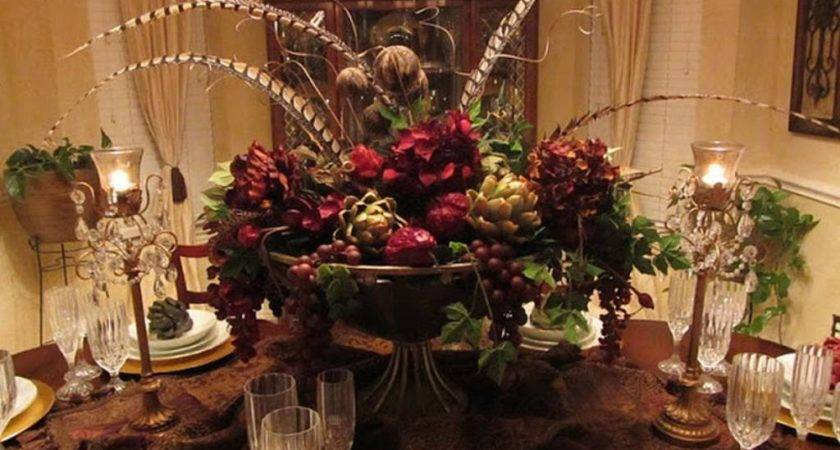 Dining Room Table Centerpieces Using Colorful Plant