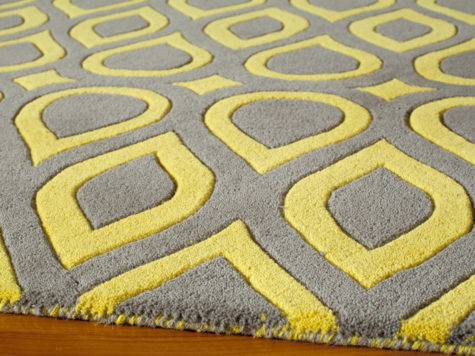 District Gray Yellow Geometric Delhi Rug Patterned