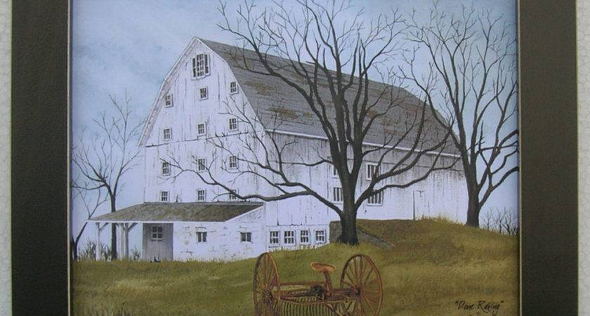 Done Raking Farming Billy Jacobs Framed Country Primitive