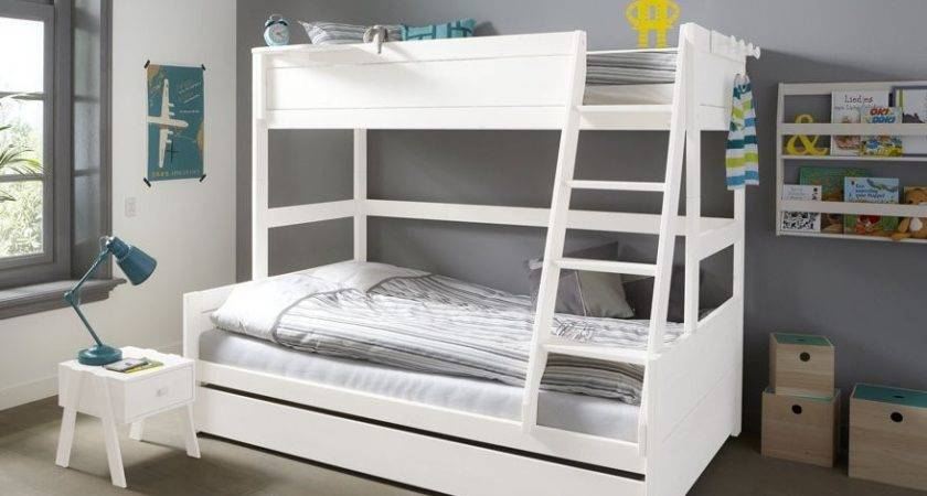 Double Bunk Bed Solid Wood White Kids