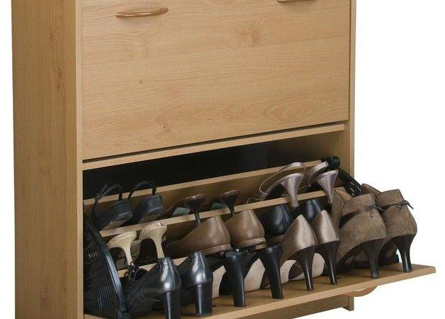 Double Shoe Cabinet Tilt Down Doors Oak Finish