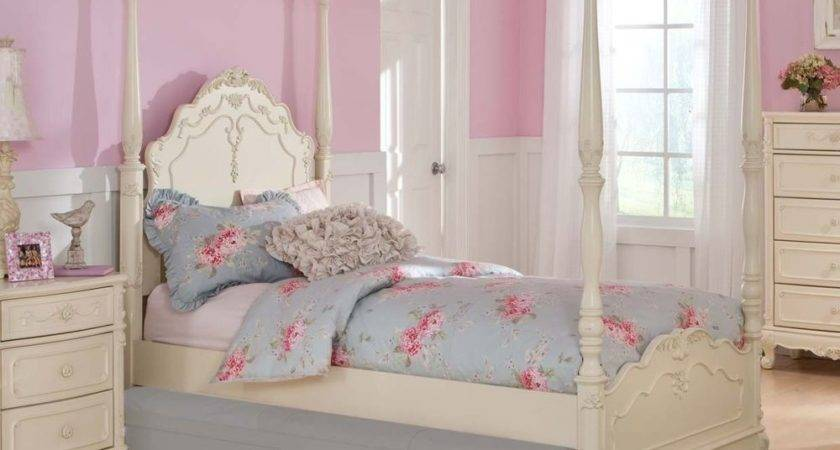 Dreamy White Finish Girls Poster Canopy Bed Bedroom