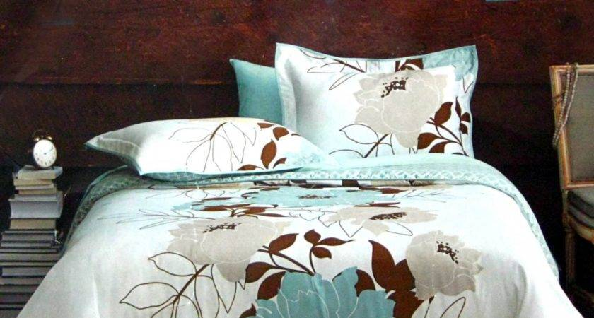 Dwell Studio Flora Teal Blue Brown Gray Comforter Set