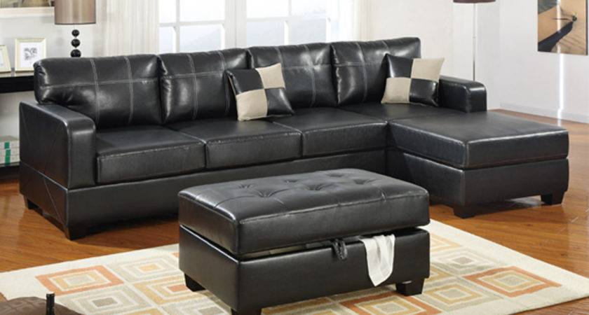 Elegant Living Room Black Leather Couch